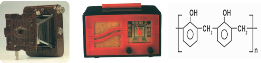 Figure 1. Bakelite products: (Left) Hawkette camera by Kodak (1927) and Motorola radio (middle) [3]; (Right) Chemical structure of Bakelite (C6H6O-CH2OH)n .